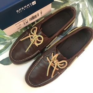 Sperry Top Sider Boys Size 5 Brown Leather